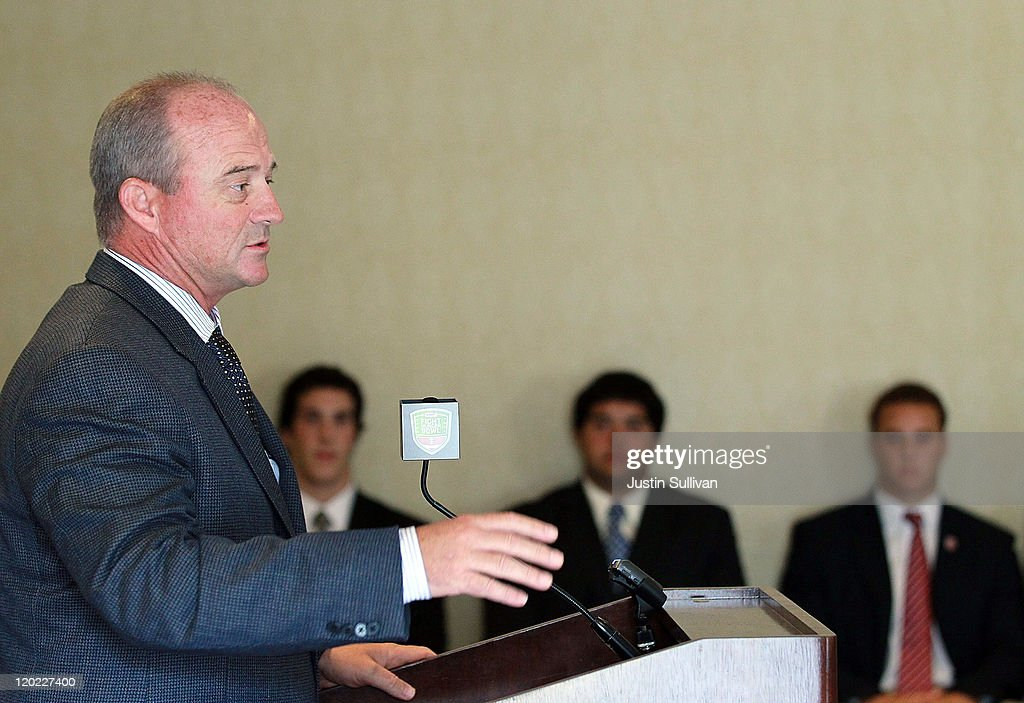 California Golden Bears football coach Jeff Tedford speaks to reporters during the Bay Area college football media day at the Hotel Nikko on August 1, 2011 in San Francisco, California. Players and coaches from Stanford, Cal and San Jose State football programs met with reporters ahead of the new season during Bay Area college football media day.