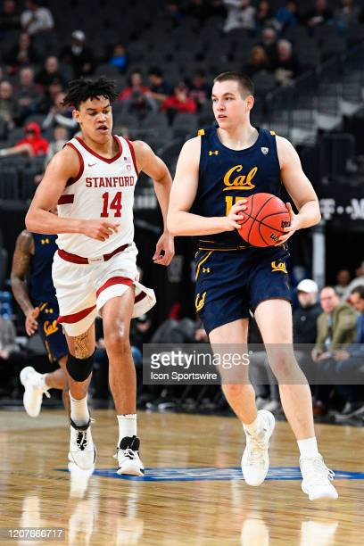 California Golden Bears forward Grant Anticevich brings the ball up the court during the first round game of the men's Pac-12 Tournament between the...