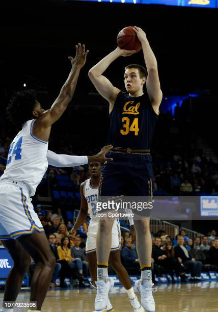 California Golden Bears Grant Anticevich shoots the ball over UCLA Bruins Jalen Hill during the game on January 05 at Pauley Pavilion in Los Angeles...