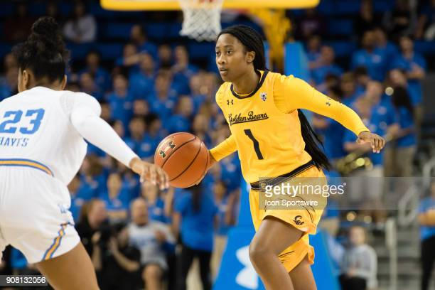 California Golden Bears guard Asha Thomas dribbles the ball during the game between the Cal Berkeley Golden Bears and the UCLA Bruins on January 19...