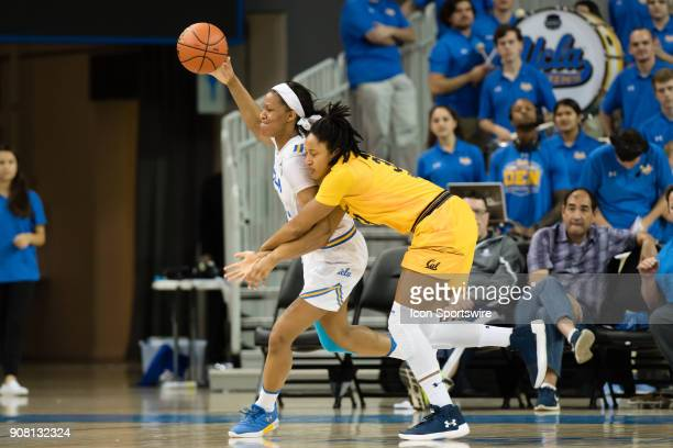 California Golden Bears guard Jaelyn Brown fowls UCLA Bruins forward Lajahna Drummer during the game between the Cal Berkeley Golden Bears and the...