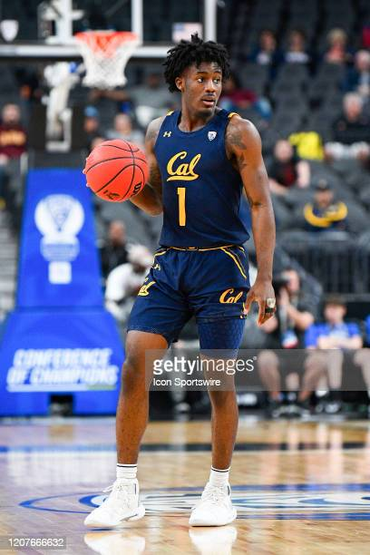 California Golden Bears guard Joel Brown sets up the offense during the first round game of the men's Pac12 Tournament between the Stanford Cardinal...