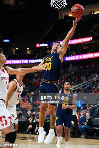 California Golden Bears guard Matt Bradley lays the ball up during the first round game of the men's Pac-12 Tournament between the Stanford Cardinal...