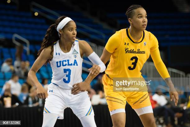 California Golden Bears guard/forward Mikayla Cowling defends UCLA Bruins guard Jordin Canada during the game between the Cal Berkeley Golden Bears...