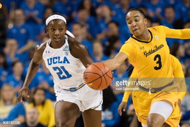 California Golden Bears guard/forward Mikayla Cowling knocks the ball out of the hands of UCLA Bruins forward Michaela Onyenwere during the game...