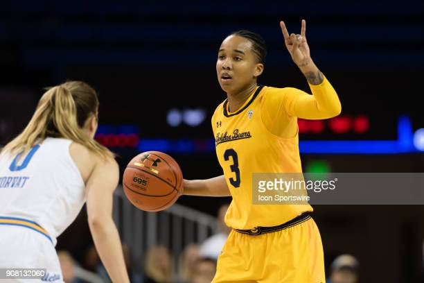 California Golden Bears guard/forward Mikayla Cowling sets up a play during the game between the Cal Berkeley Golden Bears and the UCLA Bruins on...
