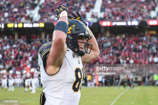 California Golden Bears linebacker Evan Weaver celebrates in the final moments of the college football game between the California Golden Bears and...