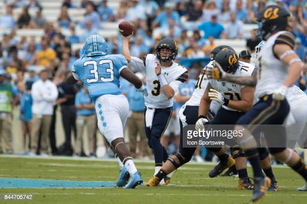 California Golden Bears quarterback Ross Bowers throws a completion to wide receiver Vic Wharton III against the North Carolina Tar Heels during the...
