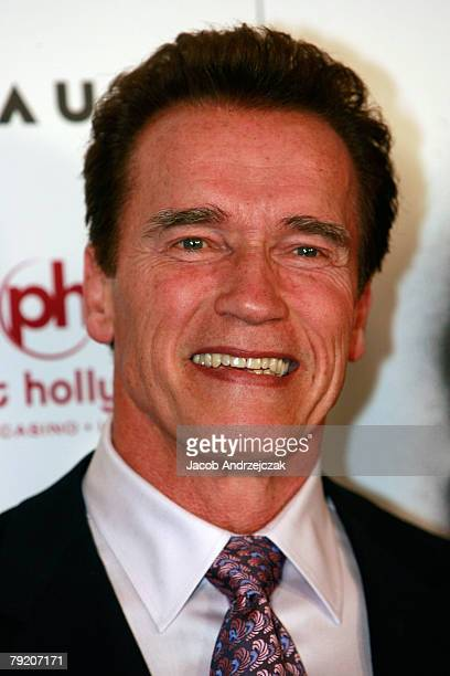 California Gov Arnold Schwarzenegger and actor Sylvester Stallone arrive at the world premiere of the movie Rambo at the Planet Hollywood Resort...