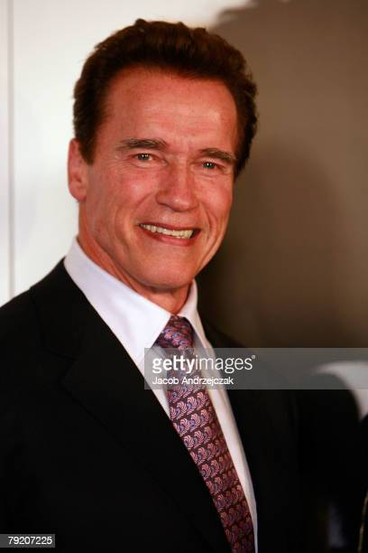 California Gov Arnold Schwarzenegger and actor Sylvester Stallone arrive at the world premiere of the movie 'Rambo' at the Planet Hollywood Resort...
