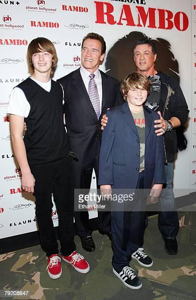 California Gov Arnold Schwarzenegger and his sons Christopher Schwarzenegger and Patrick Schwarzenegger pose with actor/director Sylvester Stallone...