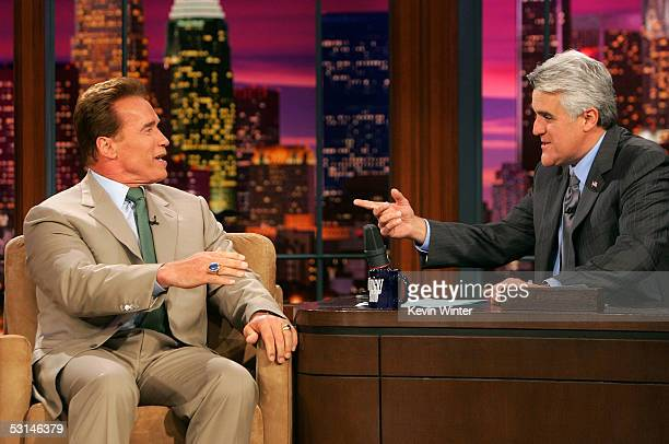 California Gov Arnold Schwarzenegger appears with host Jay Leno on 'The Tonight Show with Jay Leno' June 24 2005 at NBC Studios in Burbank California