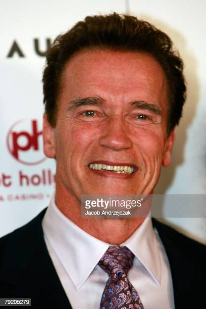 California Gov Arnold Schwarzenegger arrives at the world premiere of the movie 'Rambo' at the Planet Hollywood Resort Casino January 24 2008 in Las...