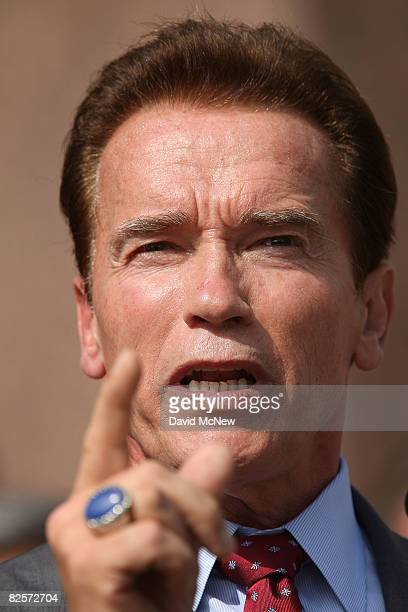 California Gov Arnold Schwarzenegger attends a press conference with the California Contract Cities Association and the Independent Cities...