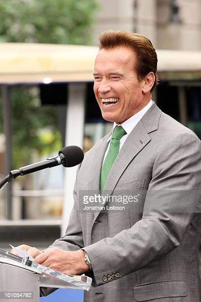 California Gov Arnold Schwarzenegger attends the reopening of the Universal Studios New York Street back lot at Universal Studios Hollywood on May 27...