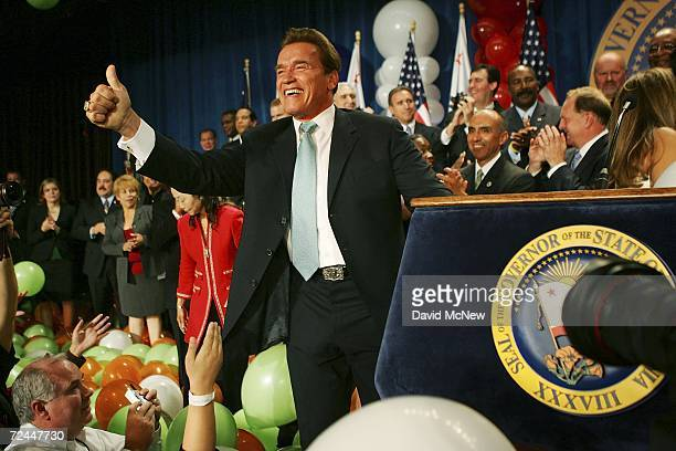 California Gov. Arnold Schwarzenegger celebrates his victory over Democrat Treasurer Phil Angelides on Election Night on November 7, 2006 in Los...