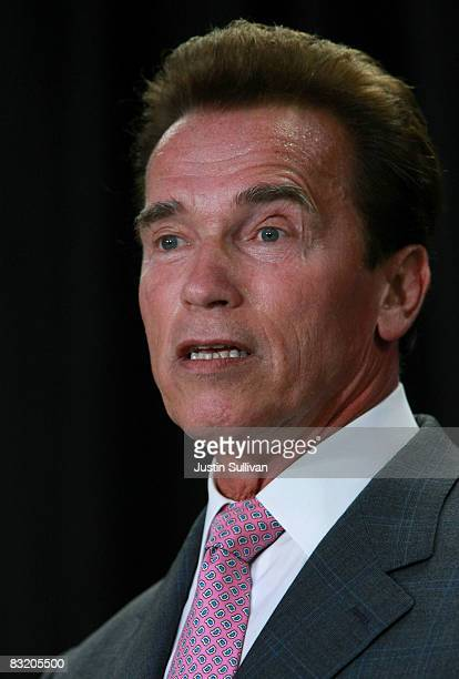 California Gov Arnold Schwarzenegger delivers the keynote address during the TechNet 'Growing Green Technology in California' forum at Applied...