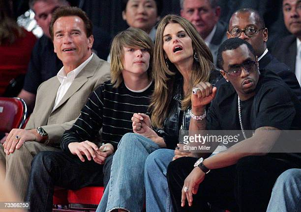 California Gov. Arnold Schwarzenegger, his son Patrick Schwarzenegger, television personality Maria Shriver and music artist Diddy, watch the 2007...