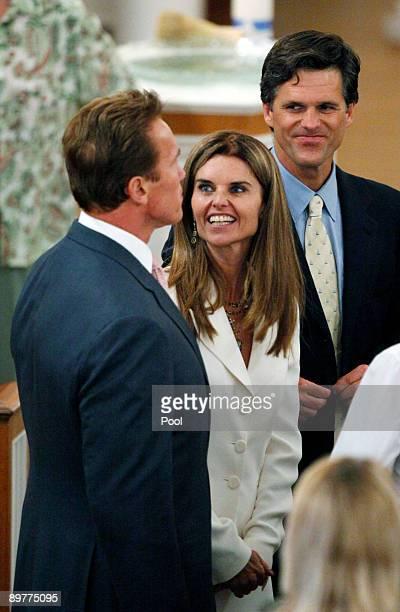 California Gov Arnold Schwarzenegger his wife Maria Shriver daughter of Eunice Kennedy Shriver and Tim Shriver son of Eunice Kennedy Shriver attend...
