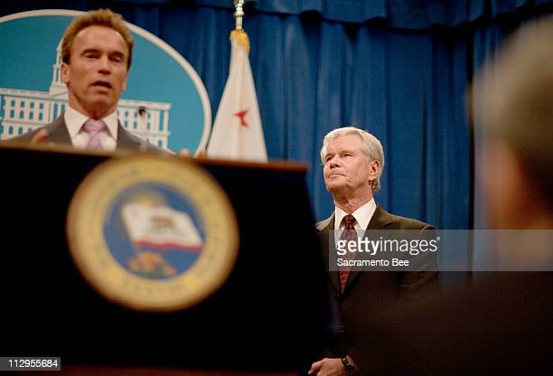 California Gov Arnold Schwarzenegger introduces Dr David Long as his new Education Secretary during a news conference at the State Capitol in...