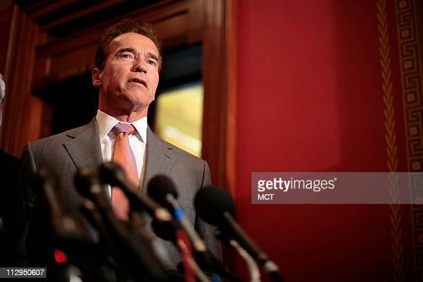 California Gov Arnold Schwarzenegger meets with House Speaker Nancy Pelosi on Capitol Hill in Washington DC Tuesday February 27 2007