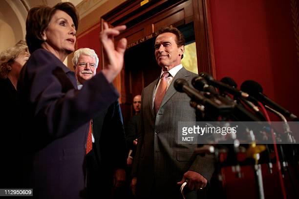 California Gov Arnold Schwarzenegger meets with House Speaker Nancy Pelosi on Capitol Hill in Washington DC Tuesday February 27 2007 Rep Zoe Lofgren...