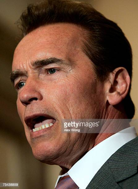 California Gov Arnold Schwarzenegger speaks during a briefing after his meeting with US Speaker of the House Rep Nancy Pelosi February 27 2007 on...