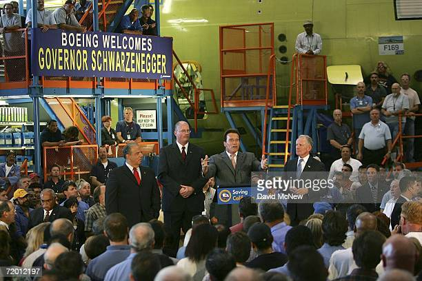California Gov Arnold Schwarzenegger speaks to Boeing Employees who bulid the C17 military transport jet about his lobbying efforts to urge the...