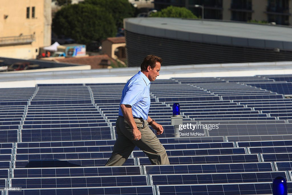 Schwarzenegger Speaks As Solar Power Project Finished Atop Staples Center : News Photo