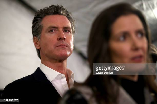 California Gov Gavin Newsom looks on during a news conference about the state's efforts on the homelessness crisis on January 16 2020 in Oakland...