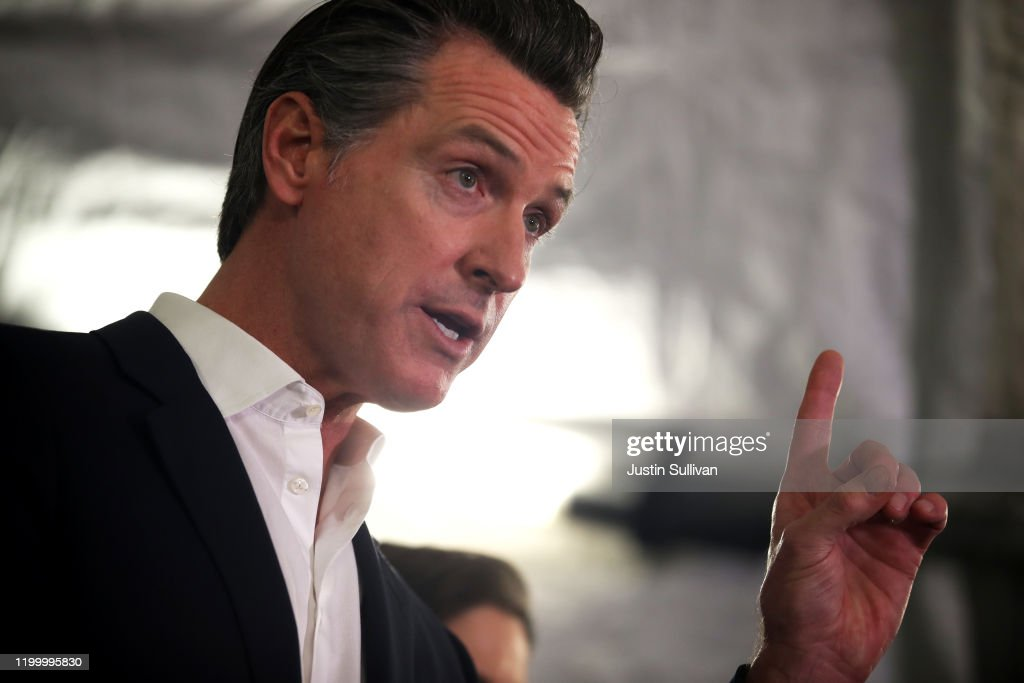 California Governor Gavin Newsom And Oakland Mayor Libby Schaaf Speak On State's Actions On Homelessness Crisis : News Photo