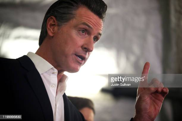 California Gov Gavin Newsom speaks during a a news conference about the state's efforts on the homelessness crisis on January 16 2020 in Oakland...