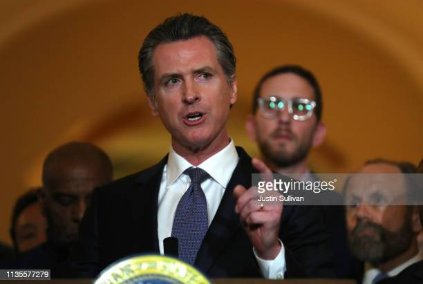 California Gov Gavin Newsom speaks during a news conference at the California State Capitol on March 13 2019 in Sacramento California Newsom...