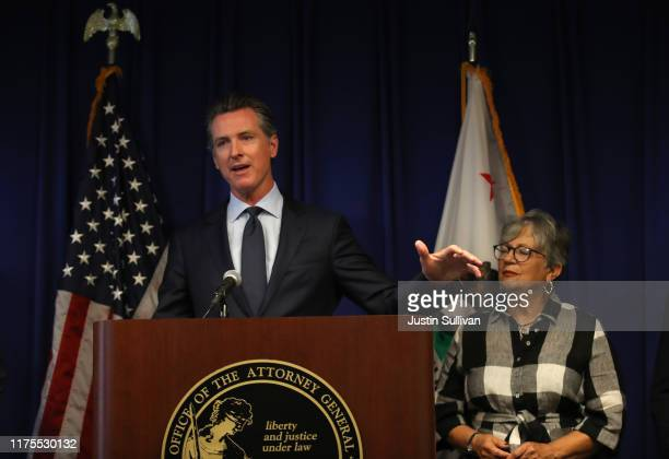 California Gov Gavin Newsom speaks during a news conference at the California justice department on September 18 2019 in Sacramento California...