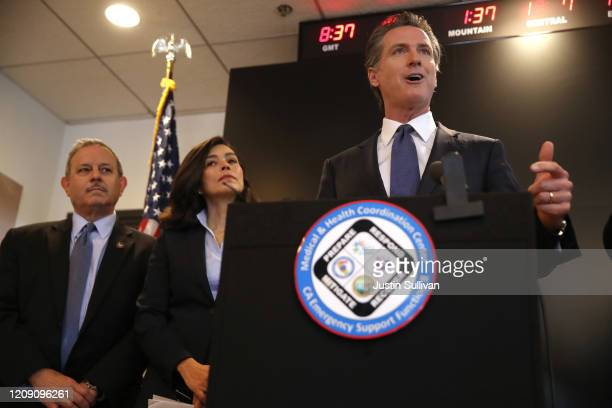 California Gov Gavin Newsom speaks during a news conference at the California Department of Public Health on February 27 2020 in Sacramento...