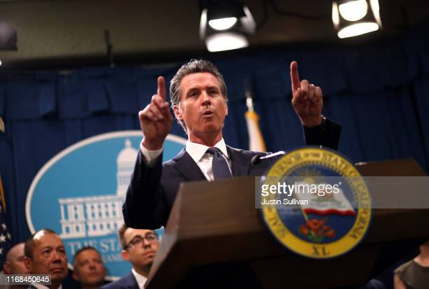 California Gov Gavin Newsom speaks during a news conference with California attorney General Xavier Becerra at the California State Capitol on August...