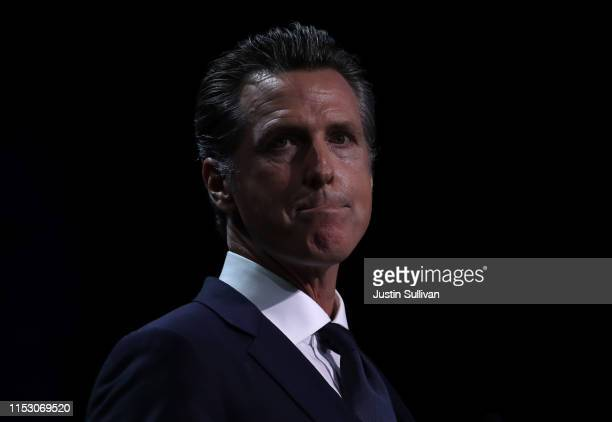 California Gov Gavin Newsom speaks during the California Democrats 2019 State Convention at the Moscone Center on June 01 2019 in San Francisco...