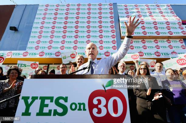 California Gov Jerry Brown a speaks during a rally in support of Proposition 30 on November 5 2012 in Panorama City California Proposition 30 would...