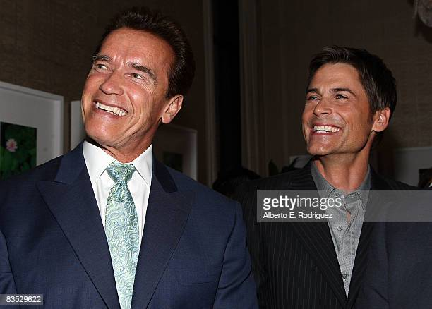 California Governor Arnold Schwarzenegger and actor Rob Lowe attend the Hollywood Entertainment Museum's Hollywood Legacy Awards XI held at the...
