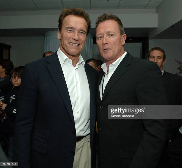 California Governor Arnold Schwarzenegger and actor Robert Patrick attend the Hopkins vs Calzaghe 'Battle of The Planet' PreParty at The Thomas Mack...