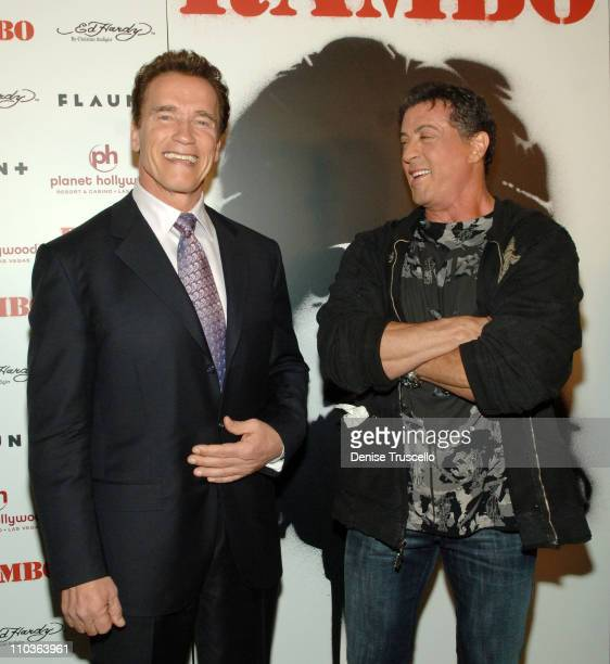 California governor Arnold Schwarzenegger and actor Sylvester Stallone arrive at the World Premiere of Rambo at The Planet Hollywood Resort Casino on...
