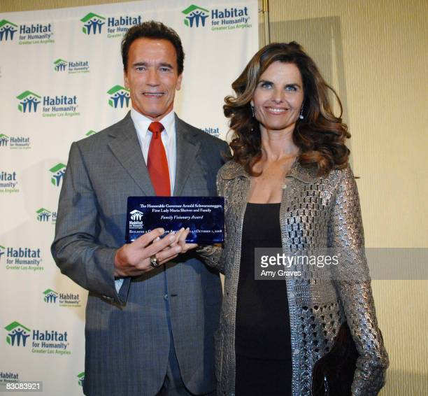 California Governor Arnold Schwarzenegger and Maria Shriver receive the Family Visionary Award at the Building a Greater Los Angeles Gala to Benefit...