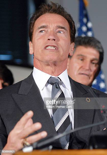 California Governor Arnold Schwarzenegger answers questions from the media at the meeting of the National Governor's Association after the governors...