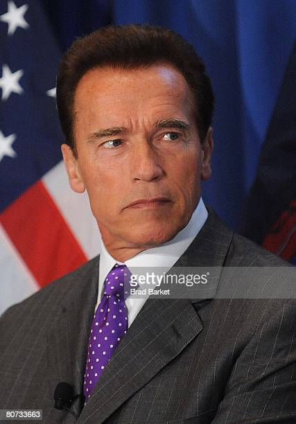 California Governor Arnold Schwarzenegger attends a luncheon at the Four Seasons Restaurant April 17 2008 in New York City Bloomberg introduced the...