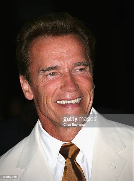 California Governor Arnold Schwarzenegger attends a special screening of Robert Davi's The Dukes at the Directors Guild of America on August 27 2007...