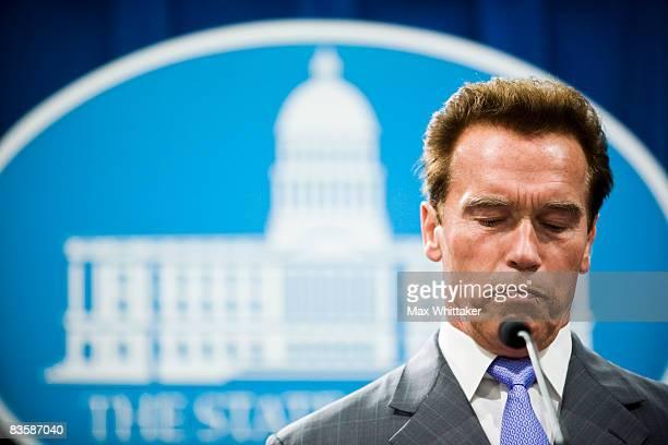 California Governor Arnold Schwarzenegger calls state legislators to a special session to address budget concerns November 6, 2008 in Sacramento,...
