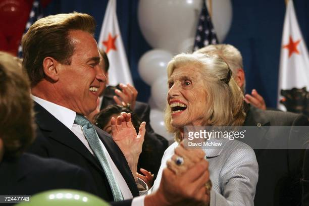 California Governor Arnold Schwarzenegger dances with his mother-in-law Eunice Kennedy-Shriver as he celebrates his victory over Democrat Treasurer...