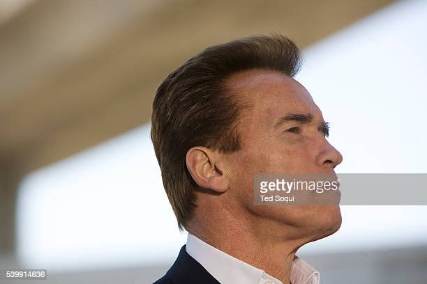 California Governor Arnold Schwarzenegger during a press conference to call on the Federal government to invest in the US infrastructure in Los...