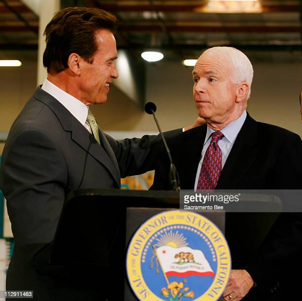 California Governor Arnold Schwarzenegger endorses Presidential hopeful John McCain after a tour of Solar Integrated Technologies in Los Angeles...
