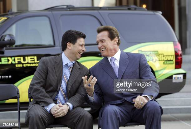 California governor Arnold Schwarzenegger laughs with California speaker of the assembly Fabian Nunez before signing Executive Order S0107 during a...